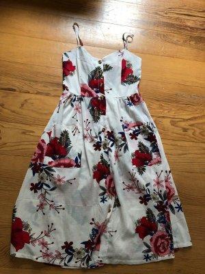 Sheinside Blumen Blogger Midi Kleid XS S 34 36