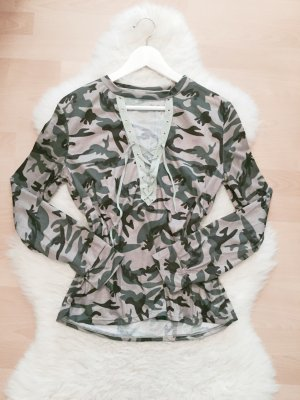SheInside Choker Pullover Blogger Lace Up Shirt Camouflage XS/S