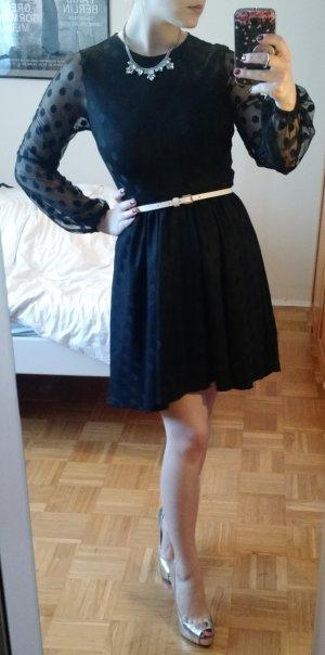Sheinside Kleid Gr. 36 S schwarz dots punkte vokuhila langarm blogger herbst