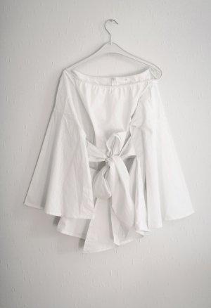 Sheinside Schleifen Bluse weiß Cut Out Gr. M Vintage Stil