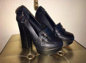 Shellys Platform Pumps black leather