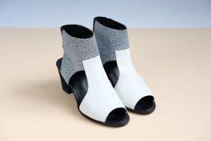 shellys london cut out sandalen mit absatz echtleder weiß schwarz muster 39