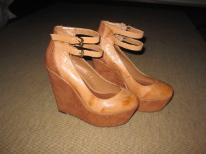 Shellys London Leder Wedges camel (Lederoberfläche im UsedLook)