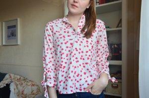 Shin Sheinside Blusen Schleife Blumen rot pink rosa weiß Stehkragen 36 s