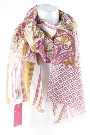 SHINGORA Chal veraniego verde oliva-rosa estampado con diseño abstracto