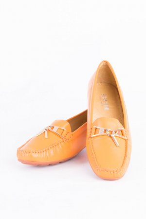 Mocassins orange foncé-doré cuir