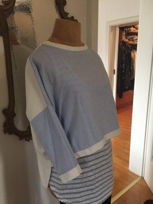 Zara Top extra-large bleu azur-blanc cassé