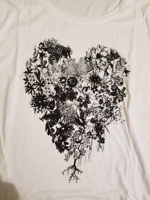 Shirt 3/4 Arm Größe 48 weiß mit Druck 100% Baumwolle ungetragen