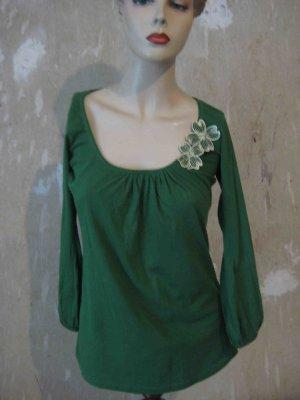 Shirt 3/4 Arm in kräftigem Grün mit Blumenapplikation - romantic Look