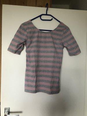 Camisa de un solo hombro rosa-gris