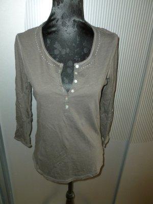 Shirt 3/4 braun grau Steinchen Promod