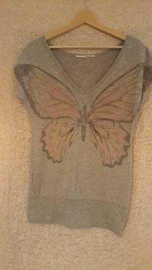 T-shirt col en V gris clair-rosé