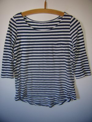 H&M Gestreept shirt donkerblauw-wit Katoen