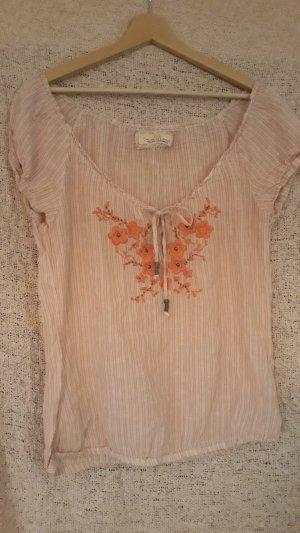 Carmen shirt stoffig roze-rosé