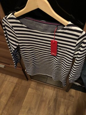 Sweater met korte mouwen wolwit-donkerblauw