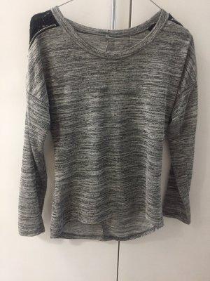 Amisu T-shirt col en V gris-gris clair