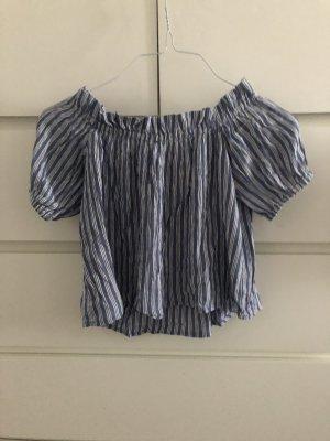 Bershka Cropped shirt wit-lichtblauw