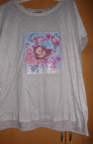 T-shirt imprimé argenté-gris