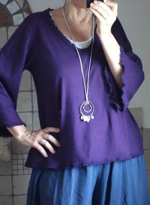 Shirt A-Linie, V-Ausschnitt, Trompetenärmel mit Spitze, violett, 100% Baumwolle, locker geschnitten, neu, ungetragen, Italy, Gr. M/L