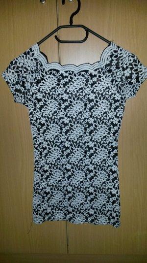 Shirt aus Spitze in schwarz/weiß
