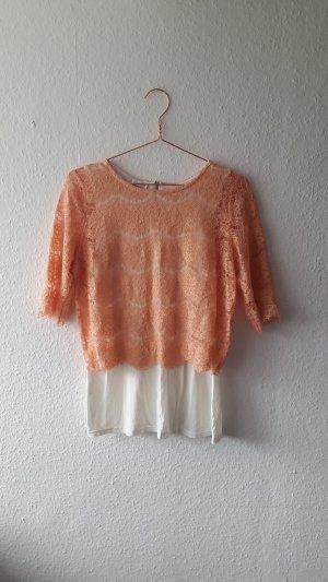 Shirt aus Spitze mit Stoffbesatz Promod rosé- lachsfarben