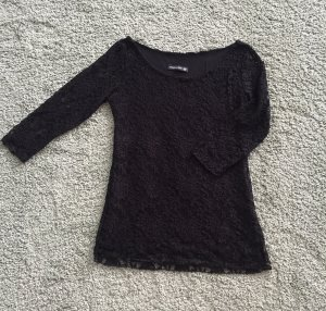 Shirt aus Spitze schwarz Gr. M / 36-38 NEU und ungetragen figurbetont 3/4-Arm Spitzenshirt Made in Italy