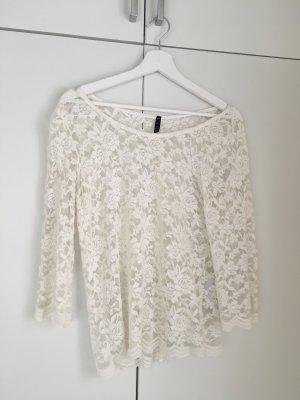 Shirt aus Spitze, weiß, Größe M