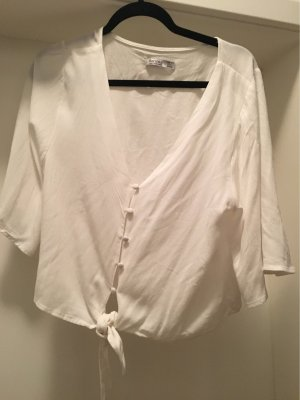Bershka T-shirt col en V blanc