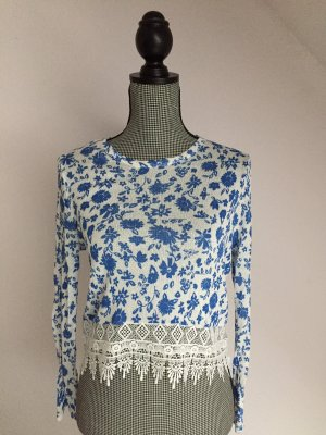 H&M Crochet Shirt white-blue