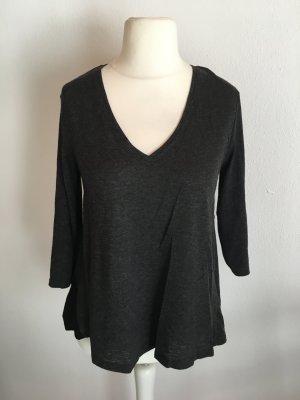 Zara Maglia con scollo a V nero-grigio scuro