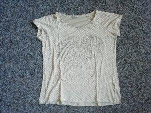 Shirt beige mit weißen Schleifchen und großem Herz M