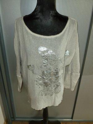Shirt beige silber Schmetterling Tredy