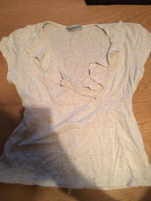 Shirt beige / wollweiß mit Rüschen am Ausschnitt Größe XS