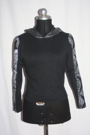 """Shirt black Kapuze silber Ärmel silber Glitzer 38 """"FORCE"""""""