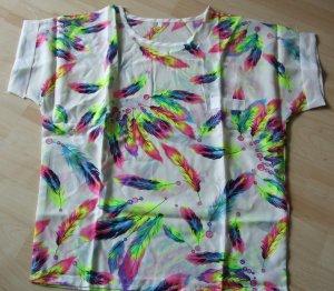 Shirt Bluse mit bunten Federn