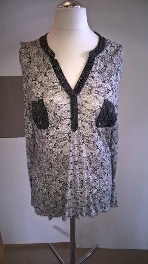 Shirt Bluse mit Paisleymuster Anthrazit Weiß