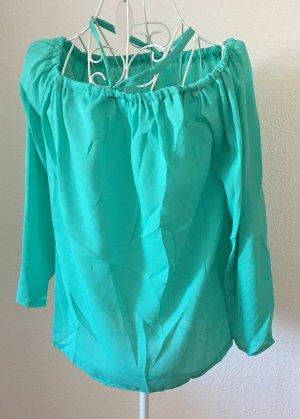 Shirt Bluse mit Reißverschluss *Gr. L* Türkis