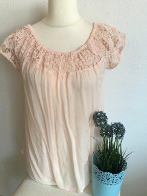 Shirt Bluse Oberteil hellrosa nude mit Spitze Gr. 38 Only