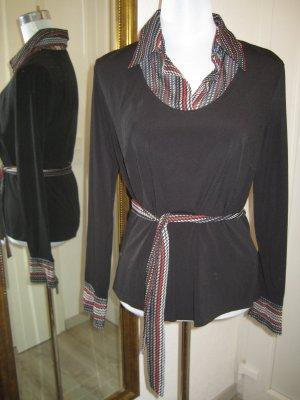 Shirt Bluse schwarz rot weiss mit Gürtel Gr 42