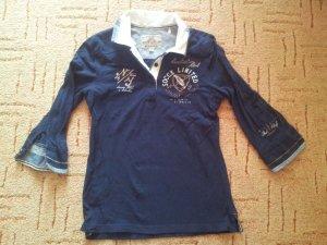 Shirt Bluse Soccx Gr. XS 34 dunkelblau Stickerei
