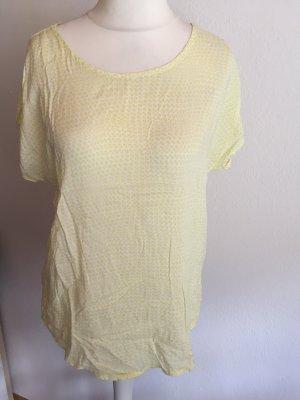 Shirt Bluse T-Shirt leicht locker gelb weiß Gr. S