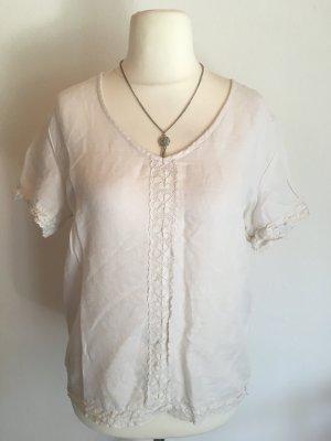 Shirt Bluse Tunika leicht mit Spitze weiß Gr. M