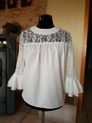Shirt Blusen mit Spitze und Trompetenärmeln