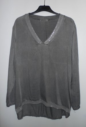 Shirt / Blusenshirt in grau mit Paillettenbesatz, Romeo & Giulia, made in Italy