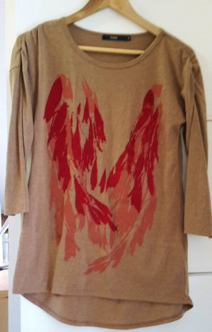 Fransa Lang shirt cognac-baksteenrood