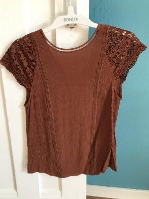 Shirt cognacbraun von H&M, Größe 34