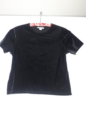 Shirt crop top schwarz samt