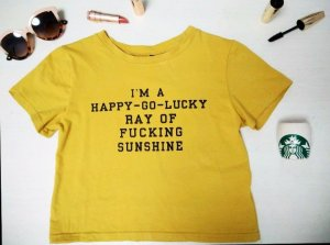 Shirt cropped gelb Aufdruck