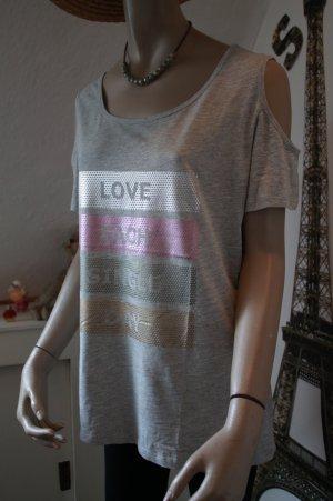 Shirt * Cutouts * schulterfrei * metallic * Statement * Gr. L * Neu mit Etikett *