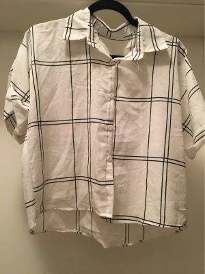 T-shirt col en V noir-blanc